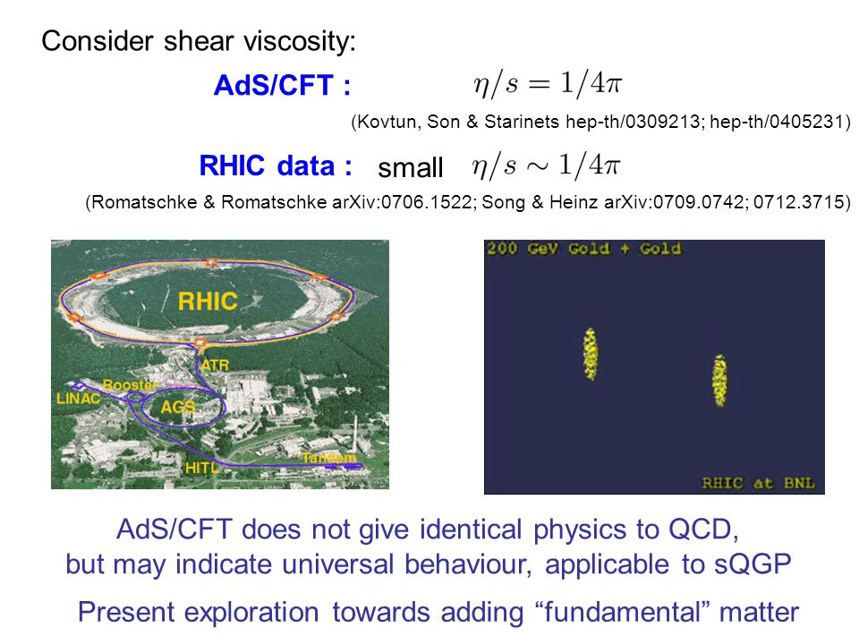 AdS/CFT : RHIC data : small Consider shear viscosity: (Kovtun, Son & Starinets hep-th/0309213; hep-th/0405231) (Romatschke & Romatschke arXiv:0706.1522; Song & Heinz arXiv:0709.0742; 0712.3715) AdS/CFT does not give identical physics to QCD, but may indicate universal behaviour, applicable to sQGP Present exploration towards adding fundamental matter