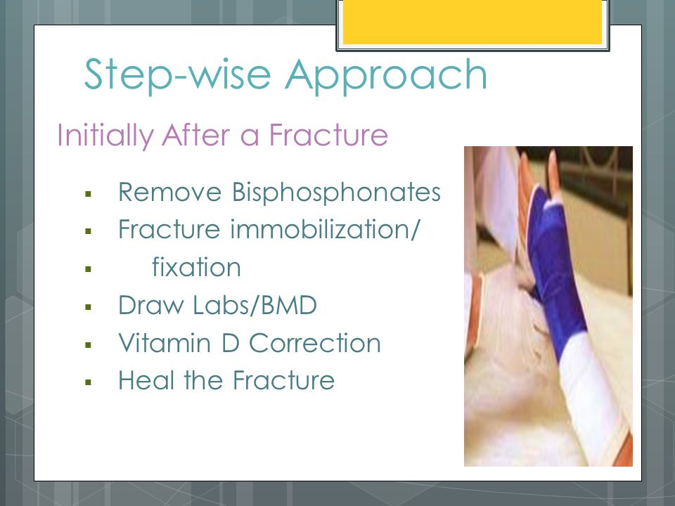 Step-wise Approach  Remove Bisphosphonates  Fracture immobilization/  fixation  Draw Labs/BMD  Vitamin D Correction  Heal the Fracture Initially After a Fracture