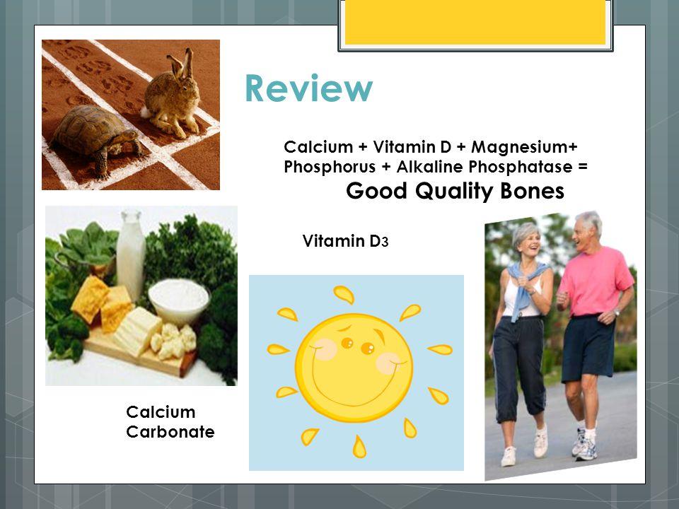 Review Calcium + Vitamin D + Magnesium+ Phosphorus + Alkaline Phosphatase = Good Quality Bones Vitamin D 3 Calcium Carbonate