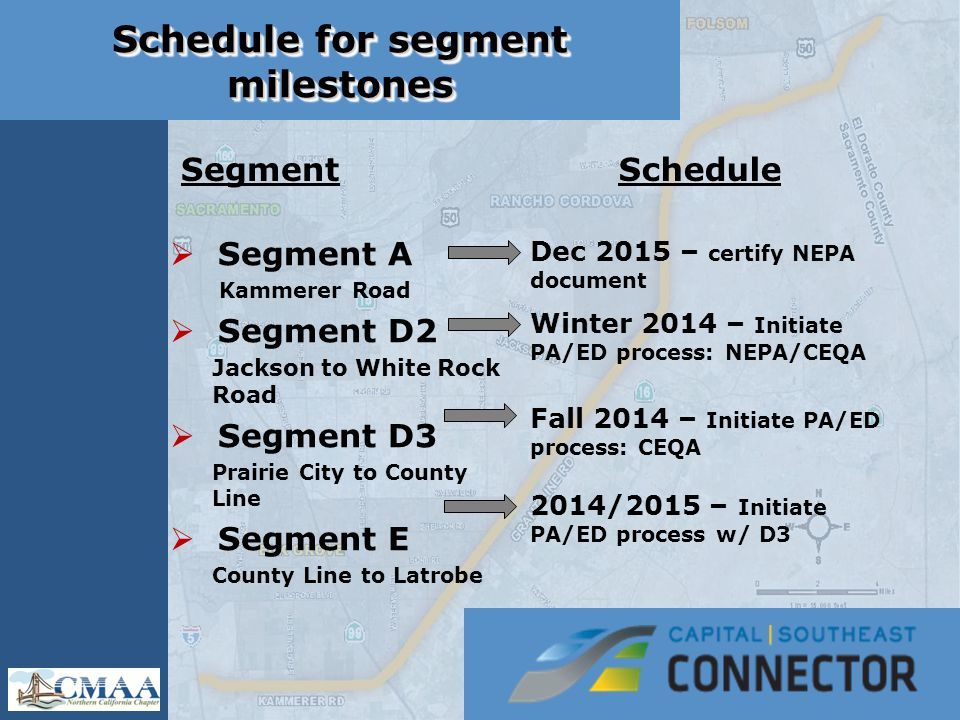 Schedule for segment milestones Segment  Segment A Kammerer Road  Segment D2 Jackson to White Rock Road  Segment D3 Prairie City to County Line  Segment E County Line to Latrobe Schedule Dec 2015 – certify NEPA document Winter 2014 – Initiate PA/ED process: NEPA/CEQA Fall 2014 – Initiate PA/ED process: CEQA 2014/2015 – Initiate PA/ED process w/ D3