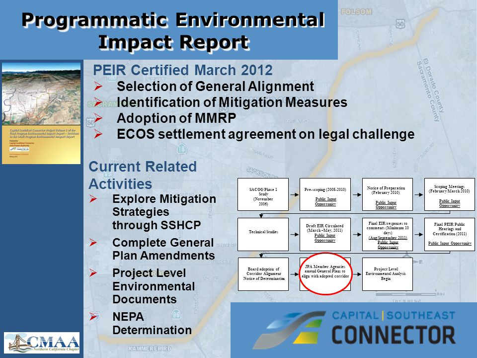Programmatic Impact Report Programmatic Environmental Impact Report SACOG Phase 1 Study (November 2006) Pre-scoping (2008-2010) Public Input Opportunity Notice of Preparation (February 2010) Public Input Opportunity Scoping Meetings (February/March 2010) Public Input Opportunity Technical Studies Draft EIR Circulated (March –May, 2011) Public Input Opportunity Final EIR/responses to comments (Minimum 10 days) (Aug/September 2011) Public Input Opportunity Final PEIR Public Hearings and Certification (2011) Public Input Opportunity Board adoption of Corridor Alignment Notice of Determination JPA Member Agencies amend General Plans to align with adopted corridor Project Level Environmental Analysis Begin PEIR Certified March 2012  Selection of General Alignment  Identification of Mitigation Measures  Adoption of MMRP  ECOS settlement agreement on legal challenge Current Related Activities  Explore Mitigation Strategies through SSHCP  Complete General Plan Amendments  Project Level Environmental Documents  NEPA Determination