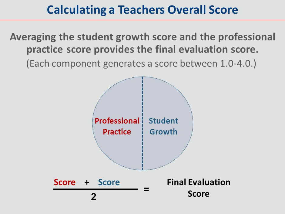 Calculating a Teachers Overall Score Averaging the student growth score and the professional practice score provides the final evaluation score. (Each