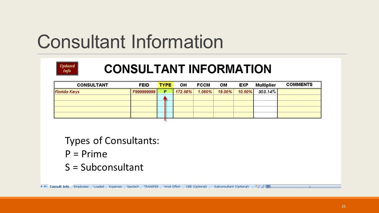 Consultant Information Types of Consultants: P = Prime S = Subconsultant 21