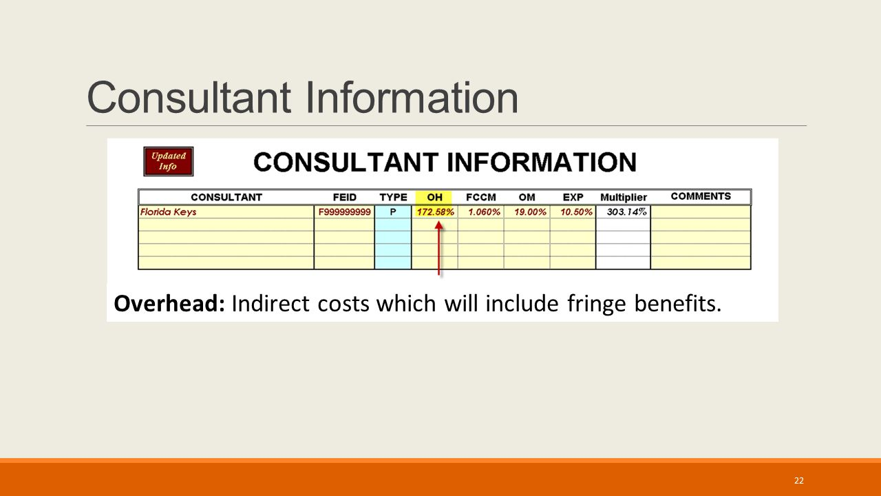 Consultant Information Overhead: Indirect costs which will include fringe benefits. 22