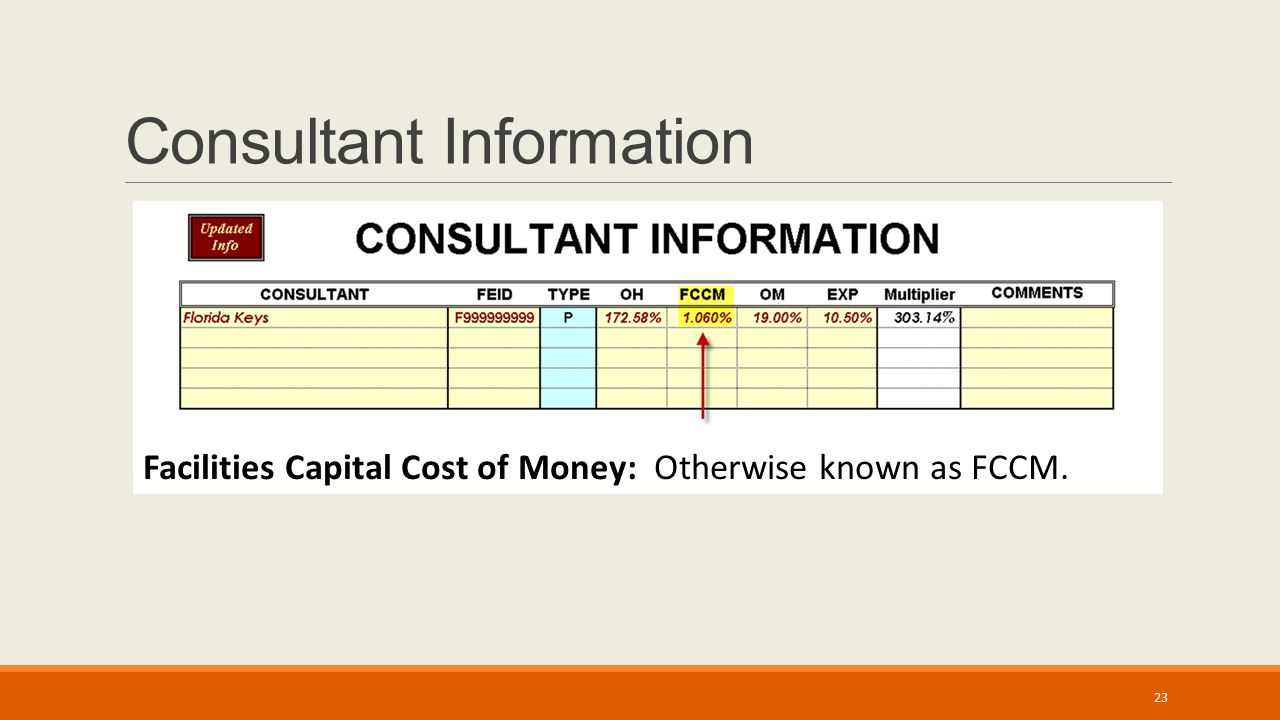 Consultant Information Facilities Capital Cost of Money: Otherwise known as FCCM. 23