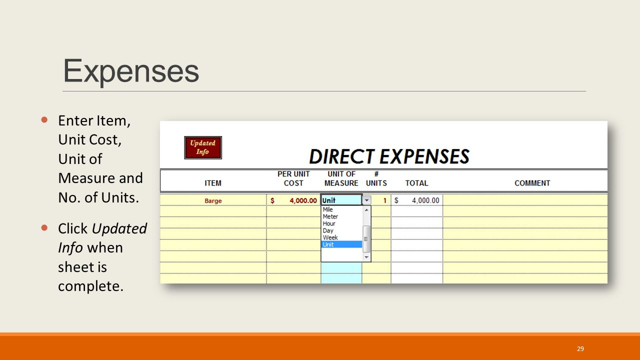 Expenses Enter Item, Unit Cost, Unit of Measure and No. of Units. Click Updated Info when sheet is complete. 29
