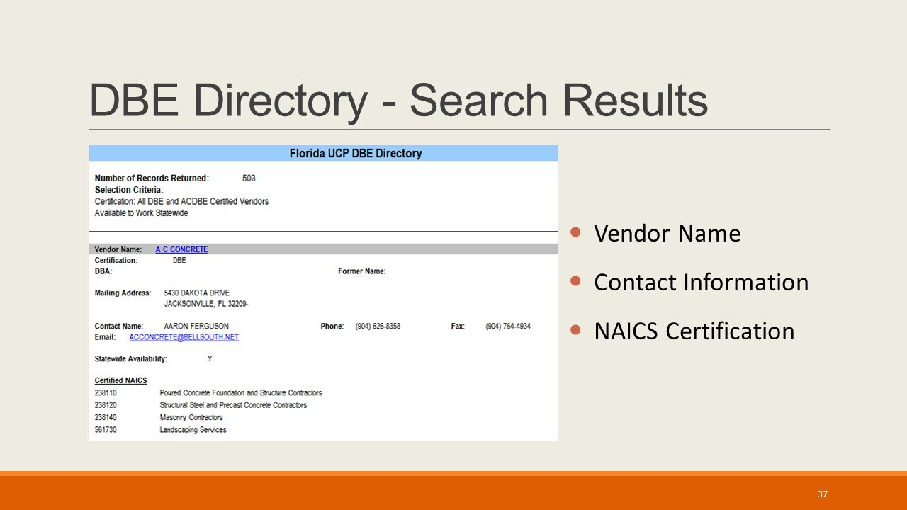 DBE Directory - Search Results Vendor Name Contact Information NAICS Certification 37