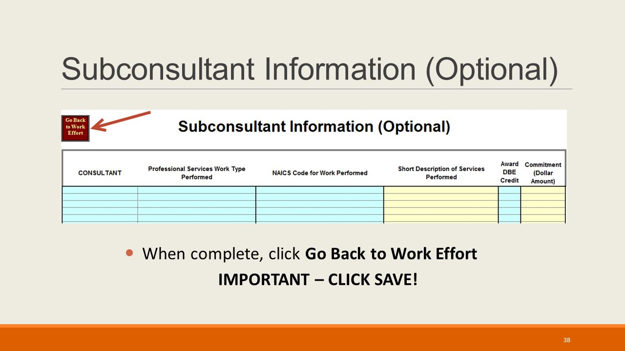 Subconsultant Information (Optional) When complete, click Go Back to Work Effort IMPORTANT – CLICK SAVE.