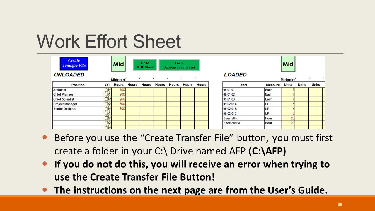 Work Effort Sheet Before you use the Create Transfer File button, you must first create a folder in your C:\ Drive named AFP (C:\AFP) If you do not do this, you will receive an error when trying to use the Create Transfer File Button.