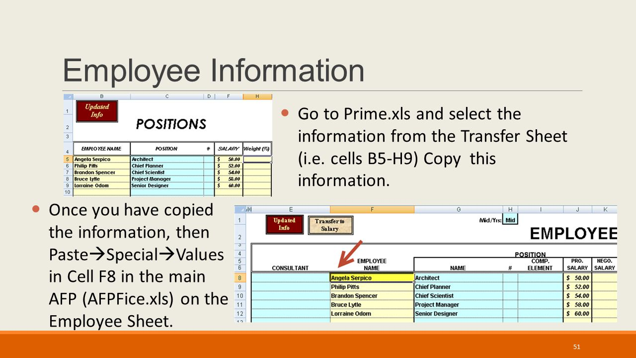 Employee Information Once you have copied the information, then Paste  Special  Values in Cell F8 in the main AFP (AFPFice.xls) on the Employee Sheet.