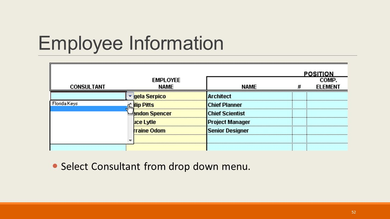 Employee Information Select Consultant from drop down menu. 52