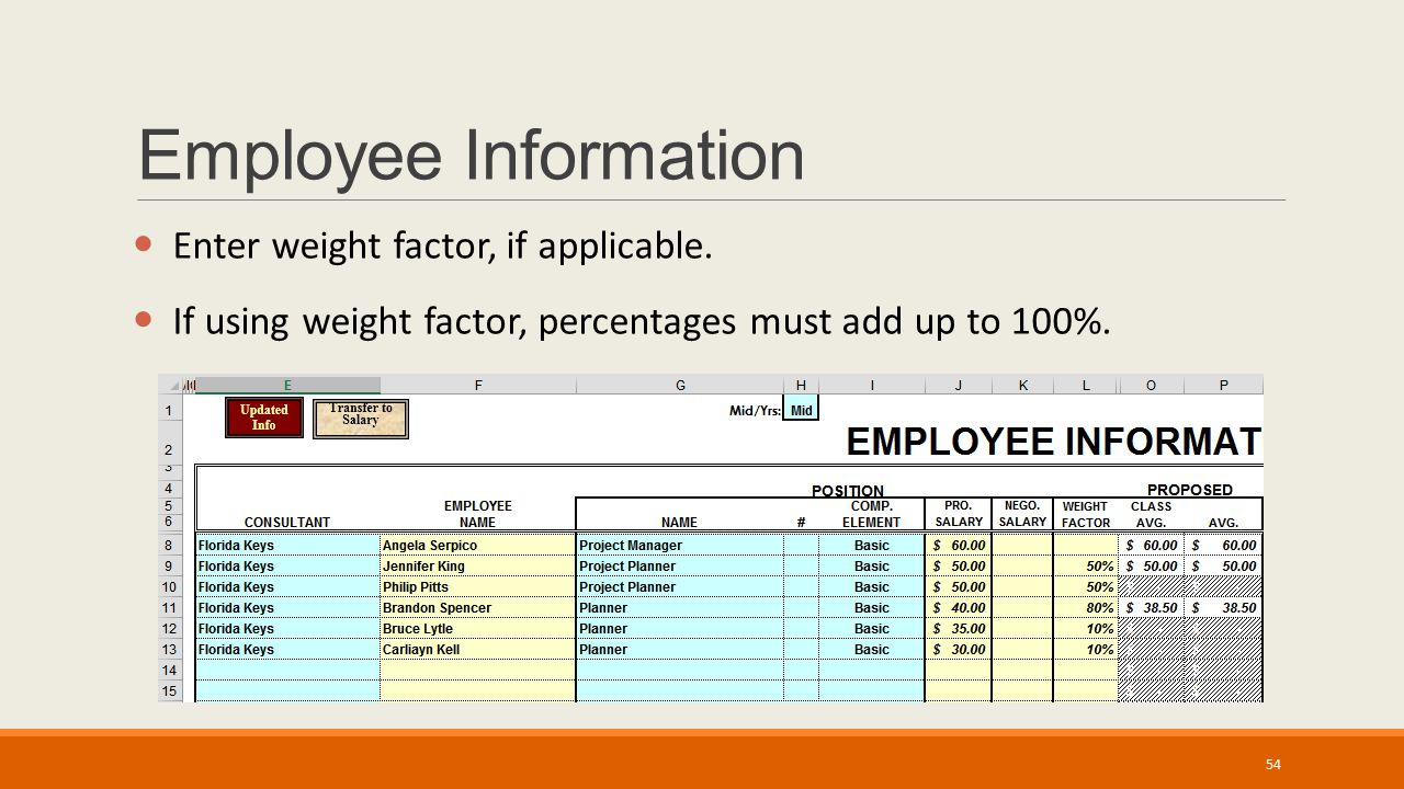 Employee Information Enter weight factor, if applicable.