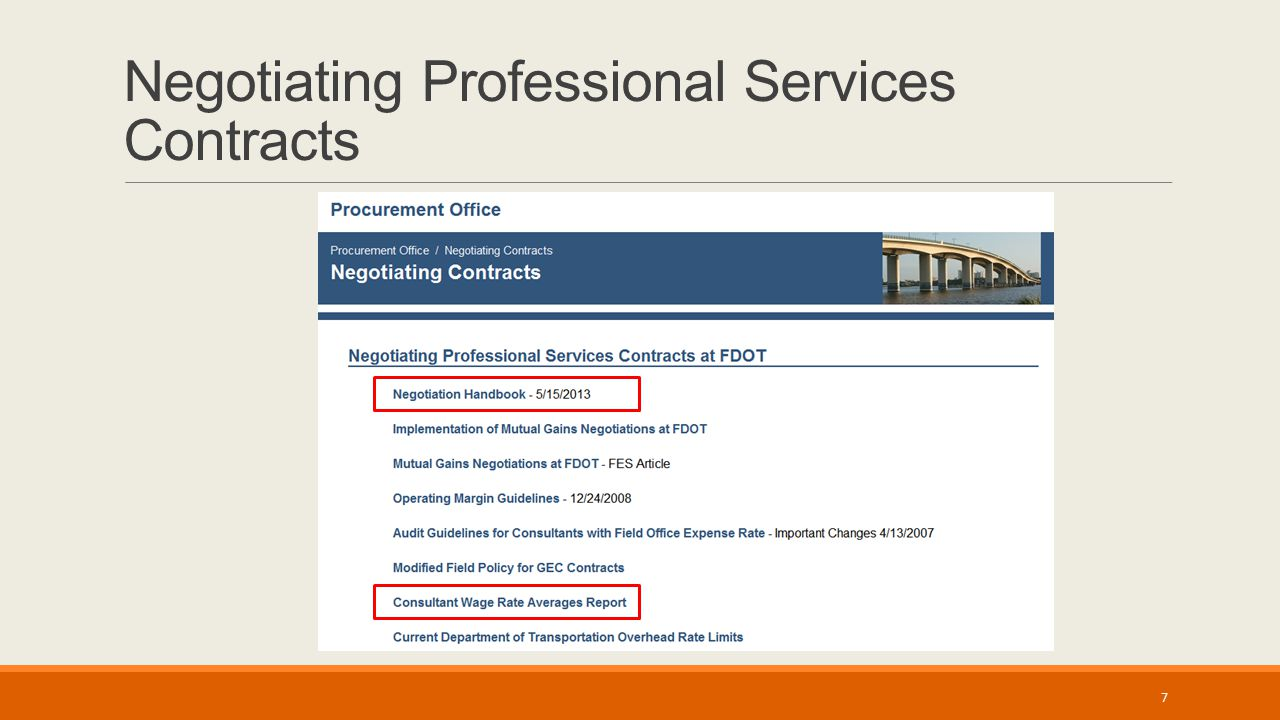 Negotiating Professional Services Contracts 7