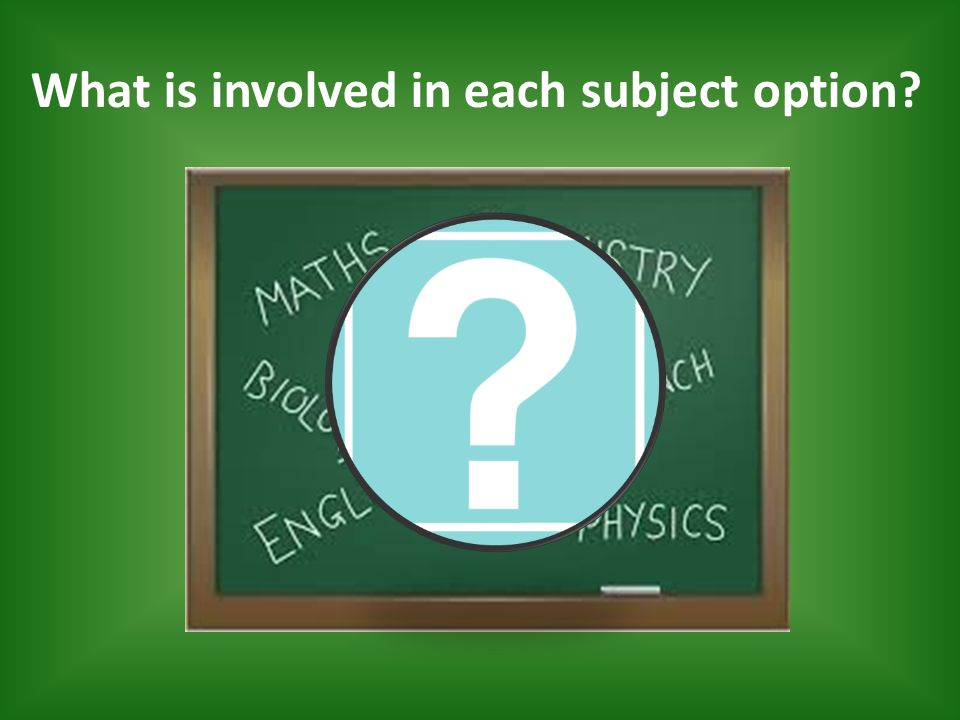 What is involved in each subject option