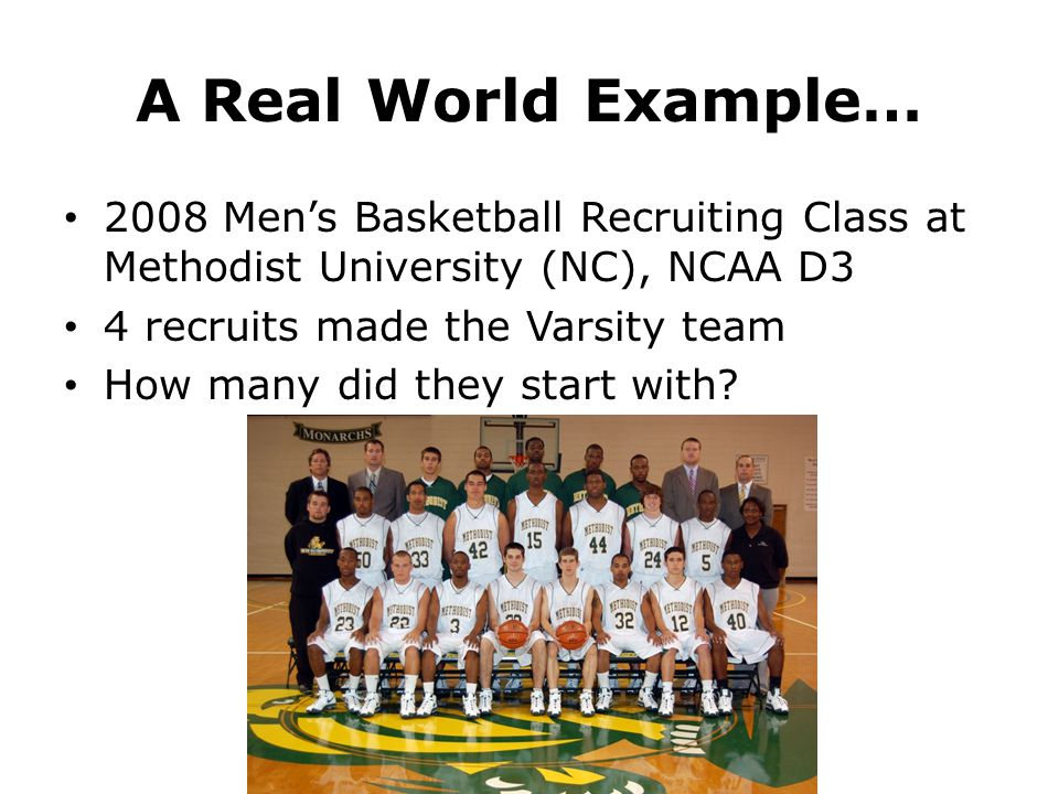 A Real World Example… 2008 Men's Basketball Recruiting Class at Methodist University (NC), NCAA D3 4 recruits made the Varsity team How many did they start with?