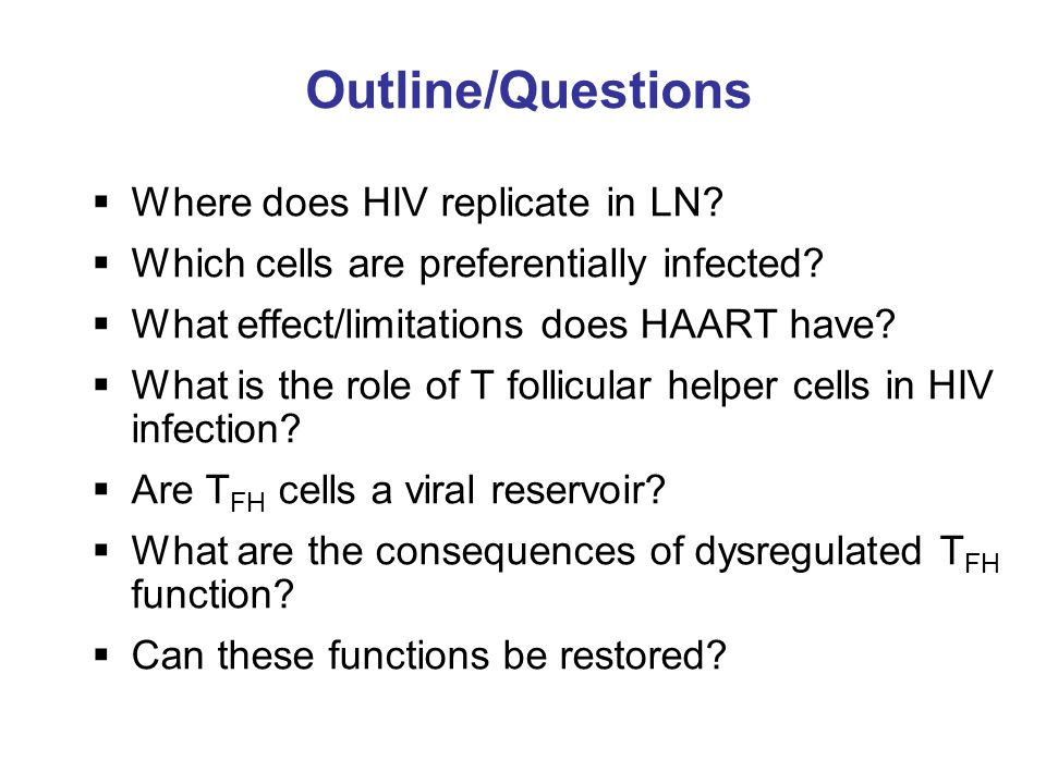 Outline/Questions  Where does HIV replicate in LN.