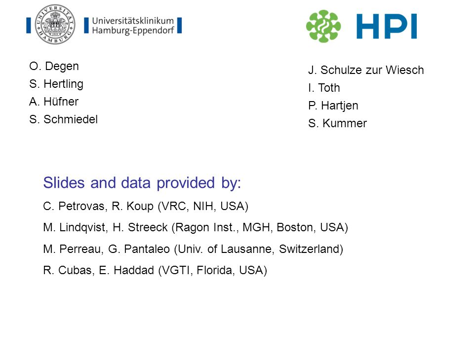 O. Degen S. Hertling A. Hüfner S. Schmiedel J. Schulze zur Wiesch I. Toth P. Hartjen S. Kummer Slides and data provided by: C. Petrovas, R. Koup (VRC,