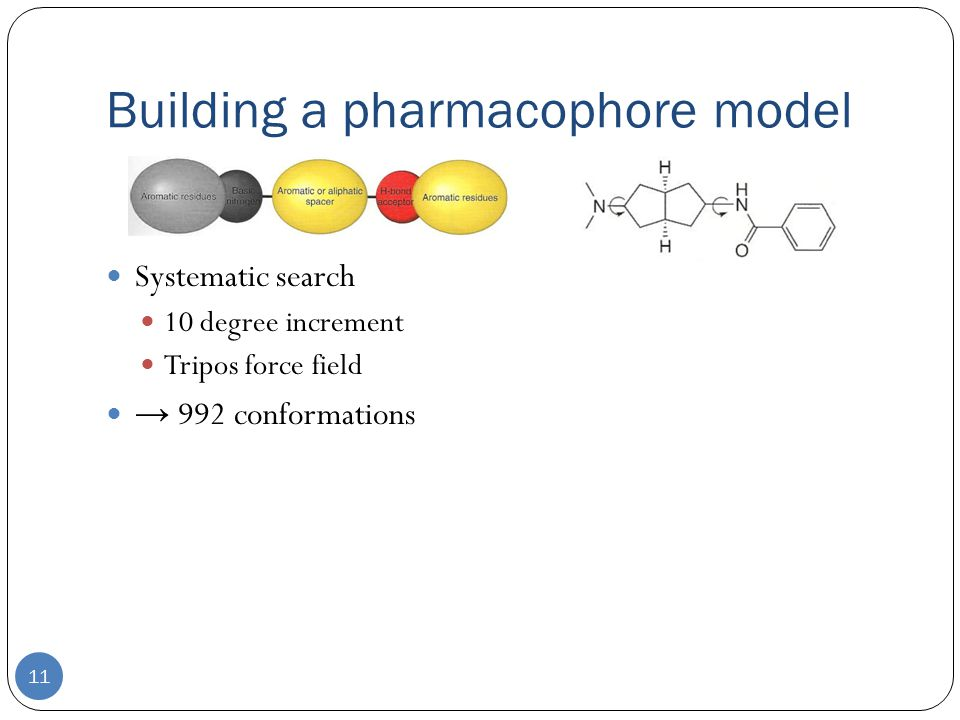 Building a pharmacophore model 11 Systematic search 10 degree increment Tripos force field → 992 conformations