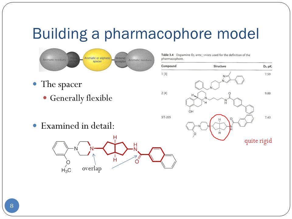 Building a pharmacophore model 8 The spacer Generally flexible Examined in detail: quite rigid overlap