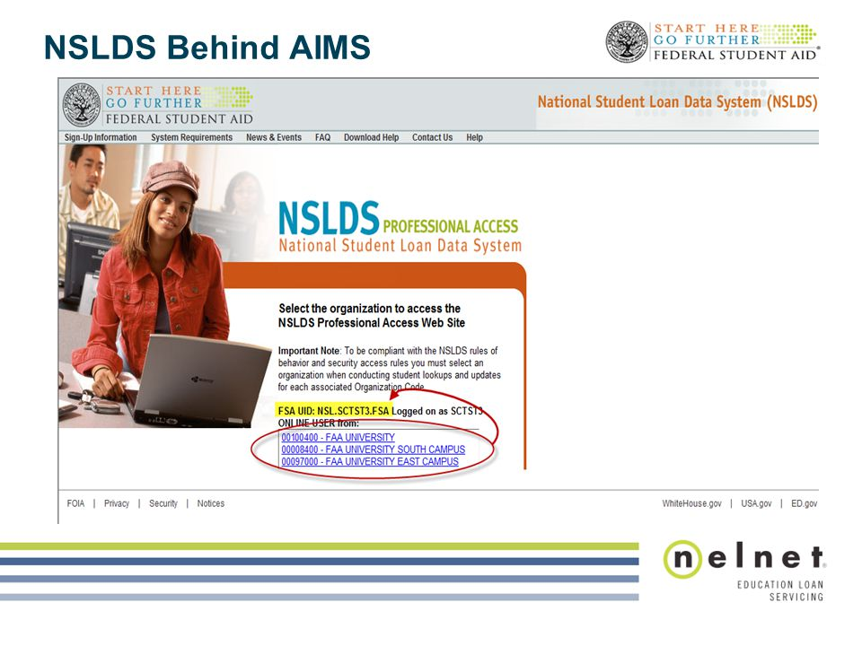 NSLDS Behind AIMS