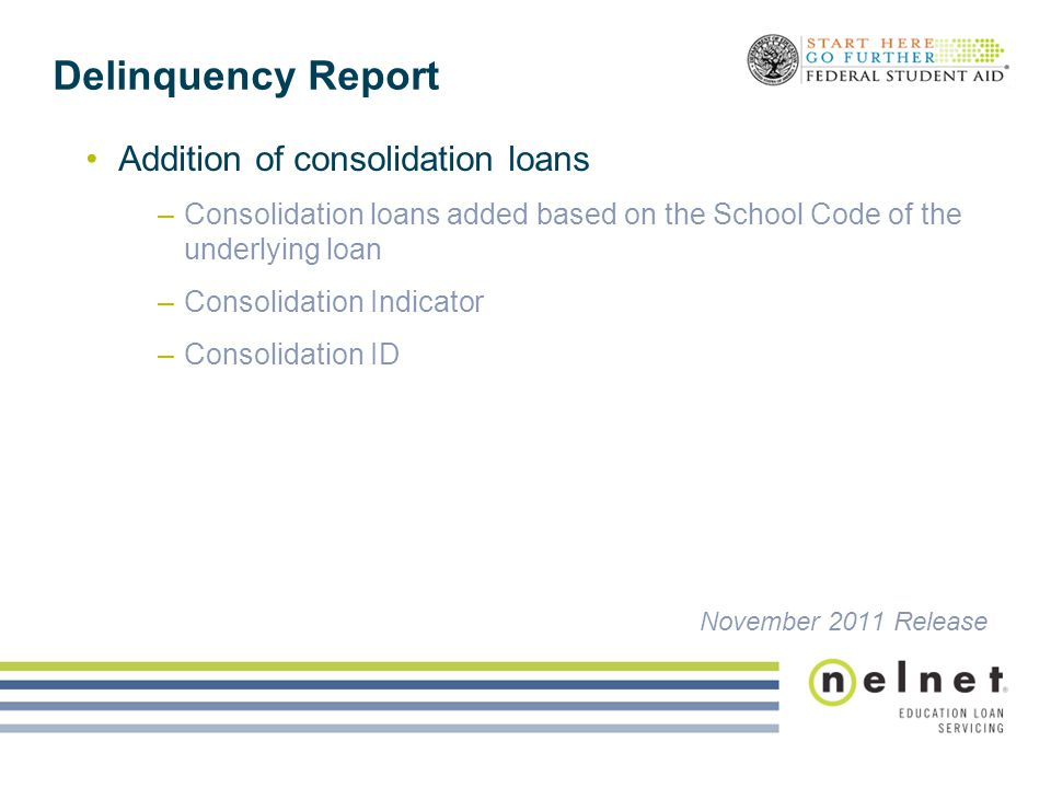 Delinquency Report Addition of consolidation loans –Consolidation loans added based on the School Code of the underlying loan –Consolidation Indicator