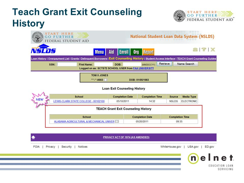 Teach Grant Exit Counseling History