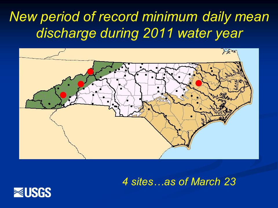 New period of record minimum daily mean discharge during 2011 water year 4 sites…as of March 23
