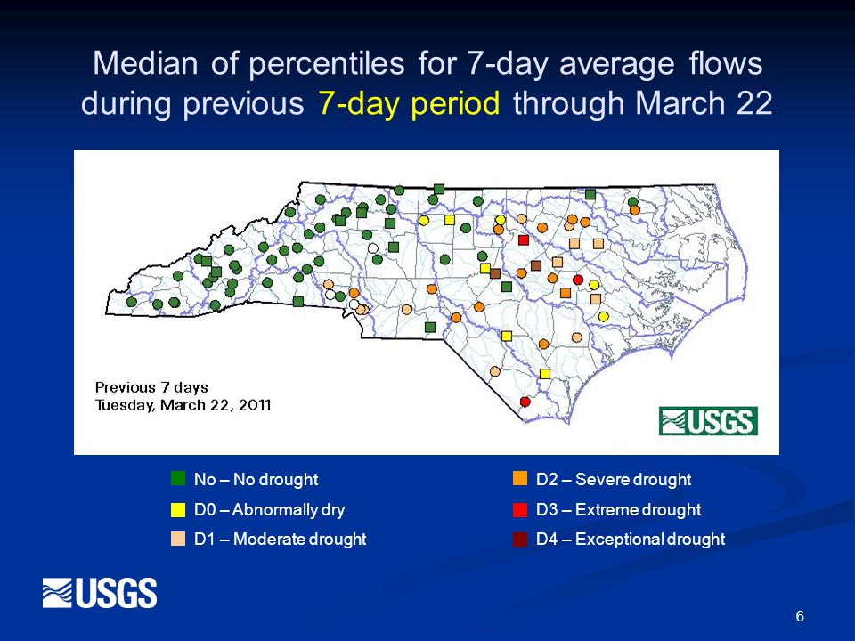 7 No – No droughtD2 – Severe drought D0 – Abnormally dryD3 – Extreme drought D1 – Moderate droughtD4 – Exceptional drought Median of percentiles for 7-day average flows during previous 30-day period through March 22