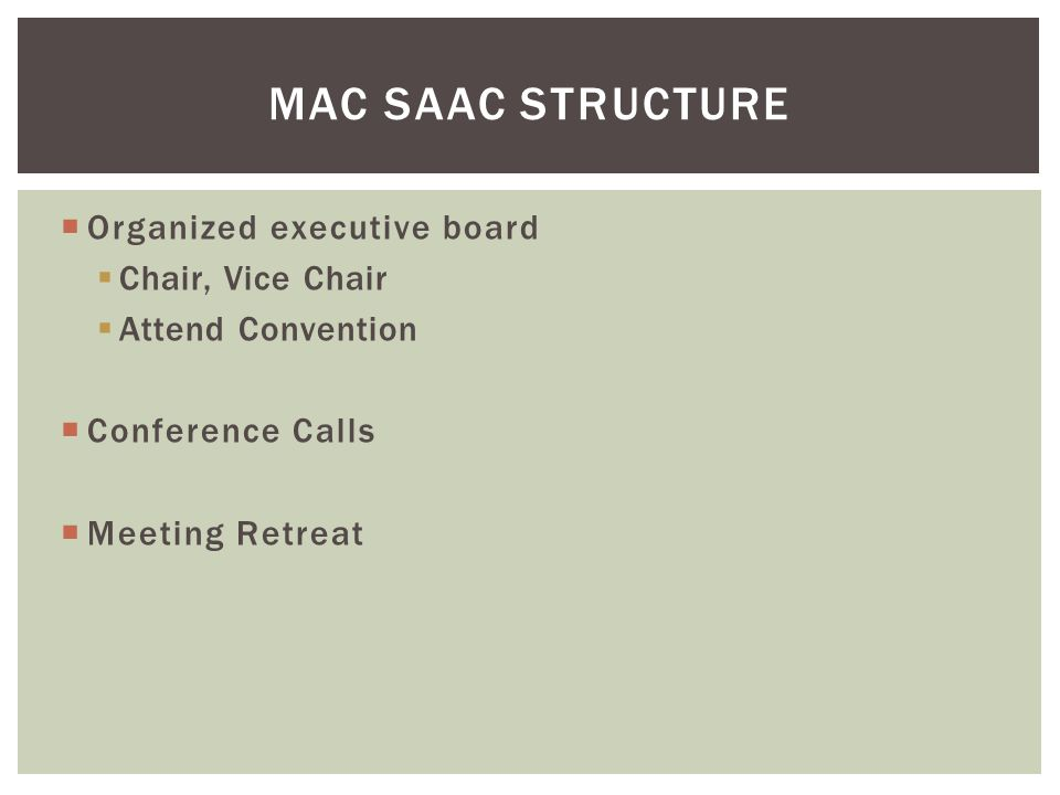  Organized executive board  Chair, Vice Chair  Attend Convention  Conference Calls  Meeting Retreat MAC SAAC STRUCTURE