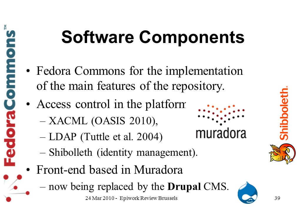 Software Components Fedora Commons for the implementation of the main features of the repository. Access control in the platform –XACML (OASIS 2010),
