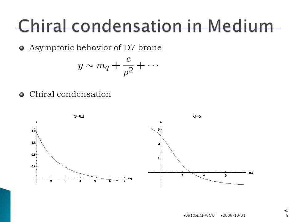 2009-10-31 0910HIM-WCU 3838 Asymptotic behavior of D7 brane Chiral condensation
