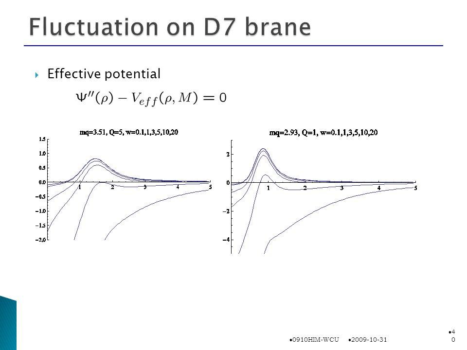  Effective potential 2009-10-31 0910HIM-WCU 4040