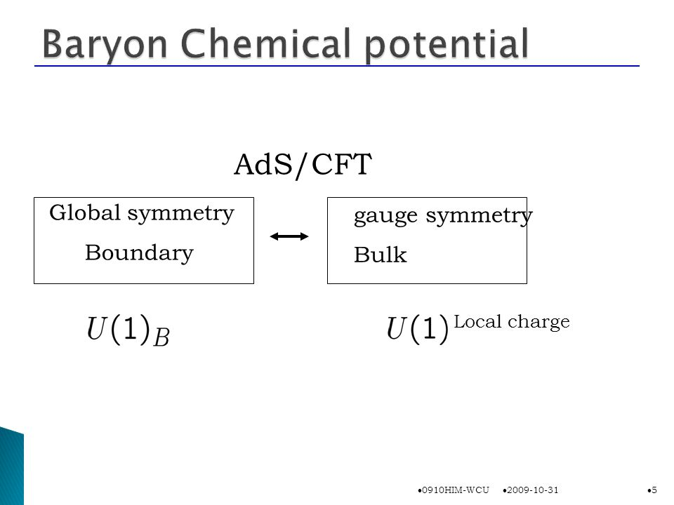 Global symmetry Boundary AdS/CFT gauge symmetry Bulk Local charge 2009-10-31 0910HIM-WCU 5