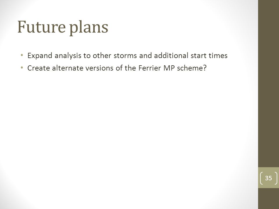 Future plans Expand analysis to other storms and additional start times Create alternate versions of the Ferrier MP scheme.