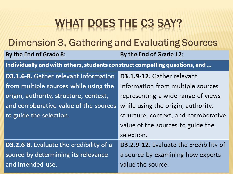 Dimension 3, Gathering and Evaluating Sources By the End of Grade 8:By the End of Grade 12: Individually and with others, students construct compelling questions, and … D