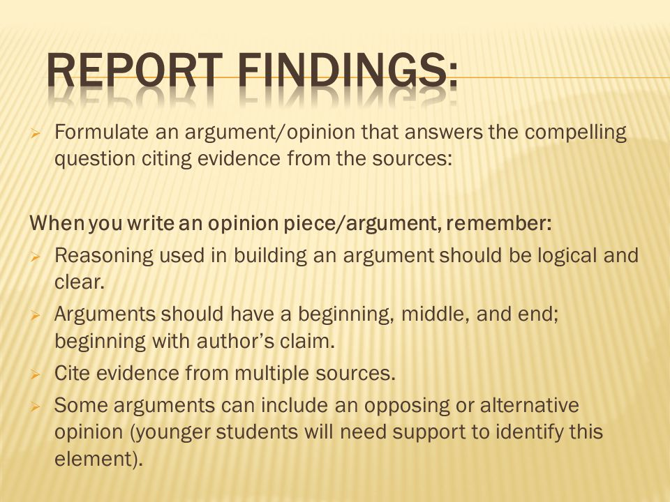 Formulate an argument/opinion that answers the compelling question citing evidence from the sources: When you write an opinion piece/argument, remem