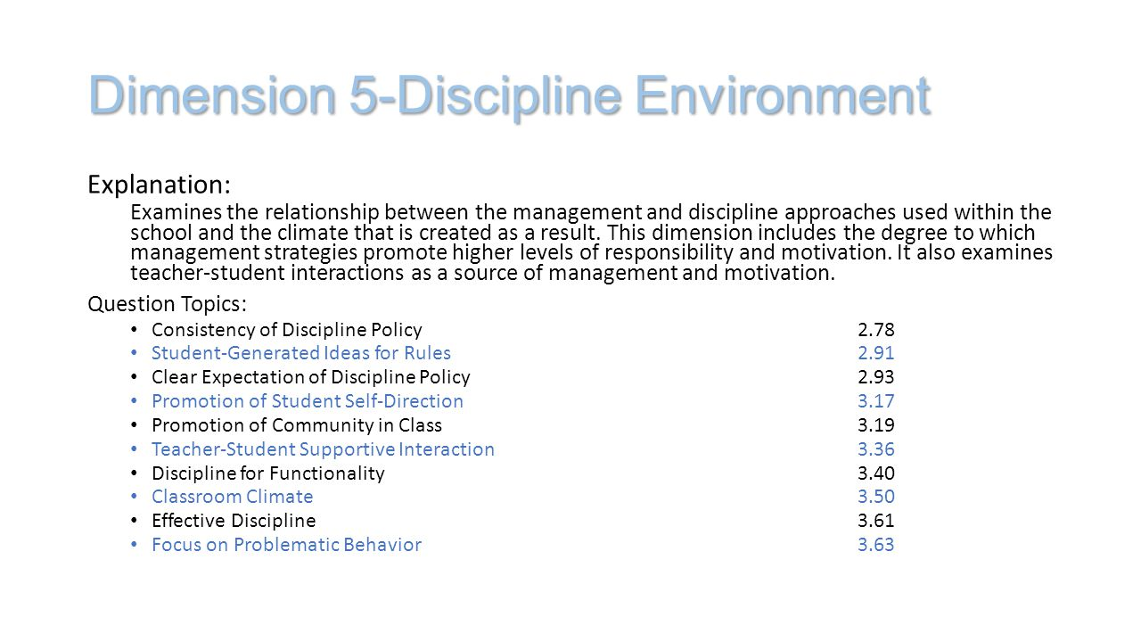 Dimension 5-Discipline Environment Explanation: Examines the relationship between the management and discipline approaches used within the school and the climate that is created as a result.