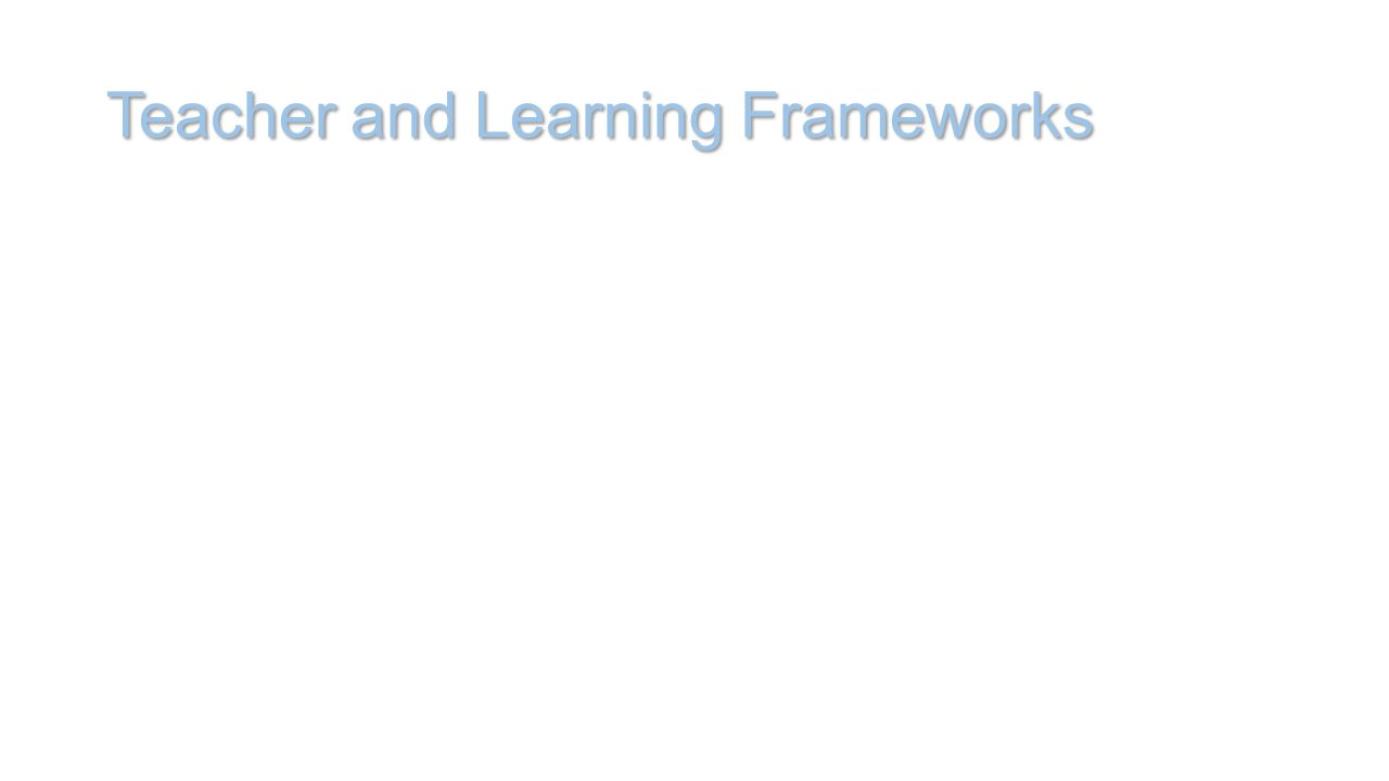 Teacher and Learning Frameworks