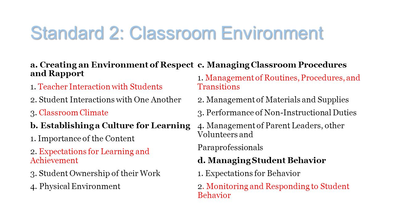 Standard 2: Classroom Environment a. Creating an Environment of Respect and Rapport 1. Teacher Interaction with Students 2. Student Interactions with