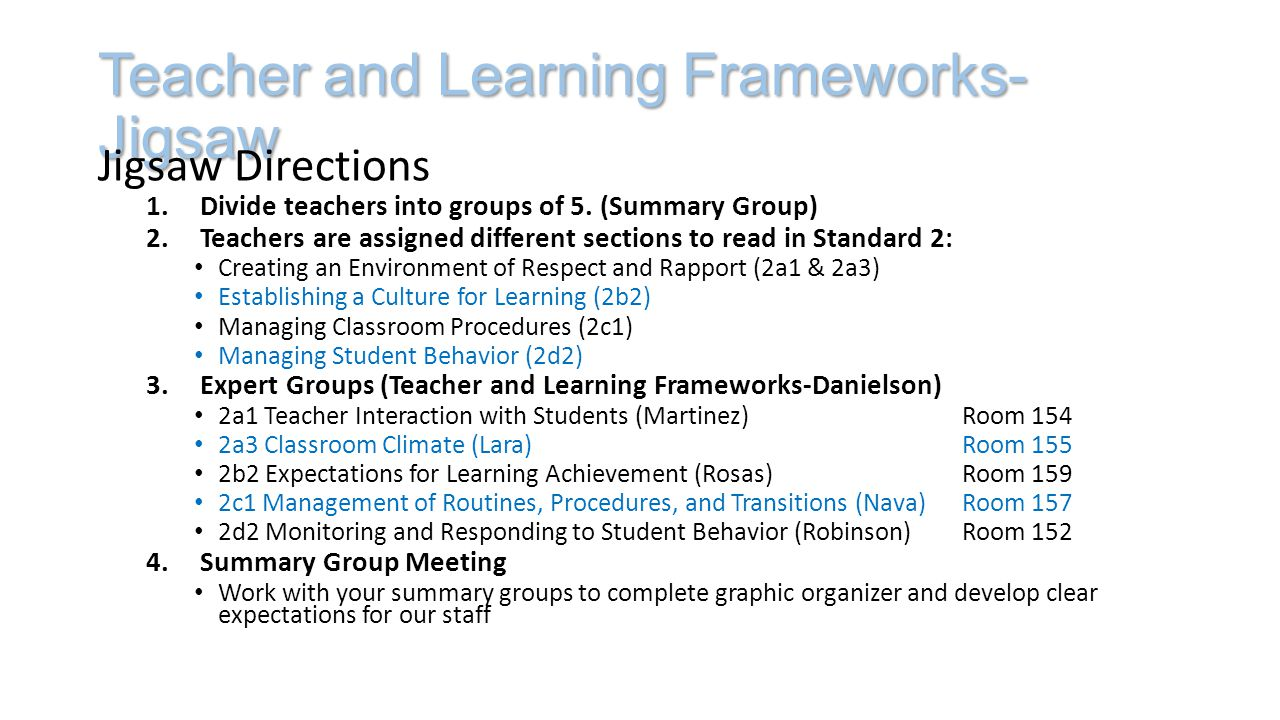 Teacher and Learning Frameworks- Jigsaw Jigsaw Directions 1.Divide teachers into groups of 5.