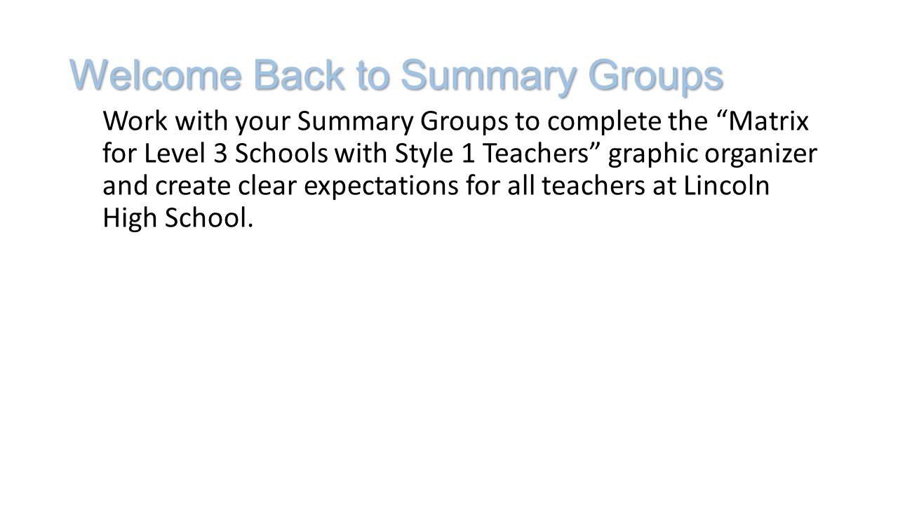 Welcome Back to Summary Groups Work with your Summary Groups to complete the Matrix for Level 3 Schools with Style 1 Teachers graphic organizer and create clear expectations for all teachers at Lincoln High School.