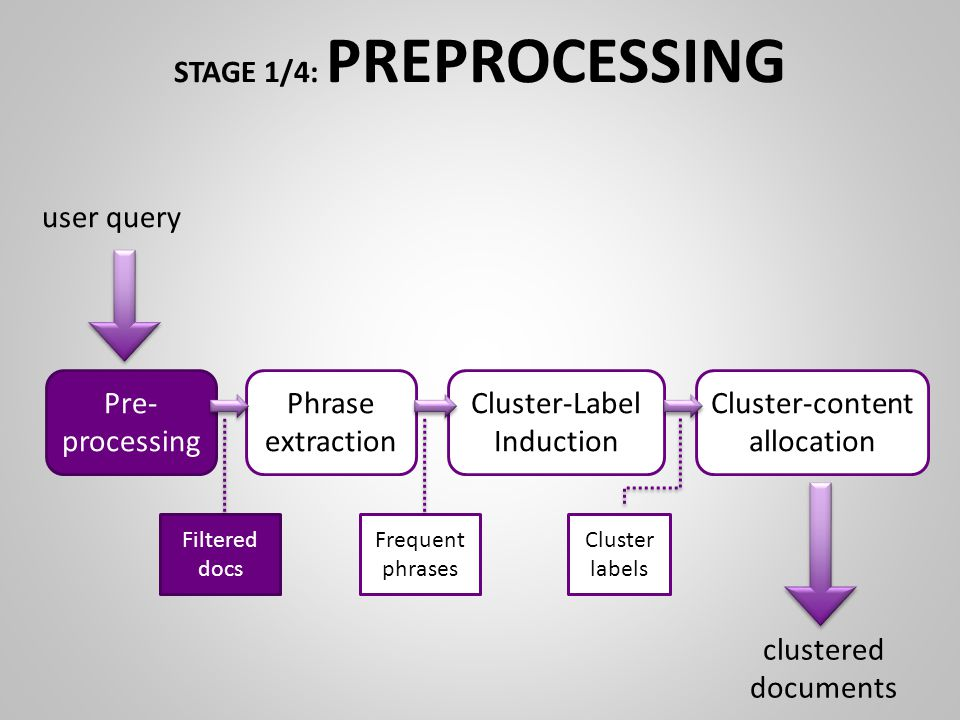 STAGE 1/4: PREPROCESSING Pre- processing Phrase extraction Cluster-Label Induction Cluster-content allocation Filtered docs Frequent phrases Cluster labels user query clustered documents