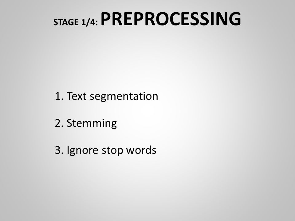 STAGE 1/4: PREPROCESSING 1. Text segmentation 2. Stemming 3. Ignore stop words