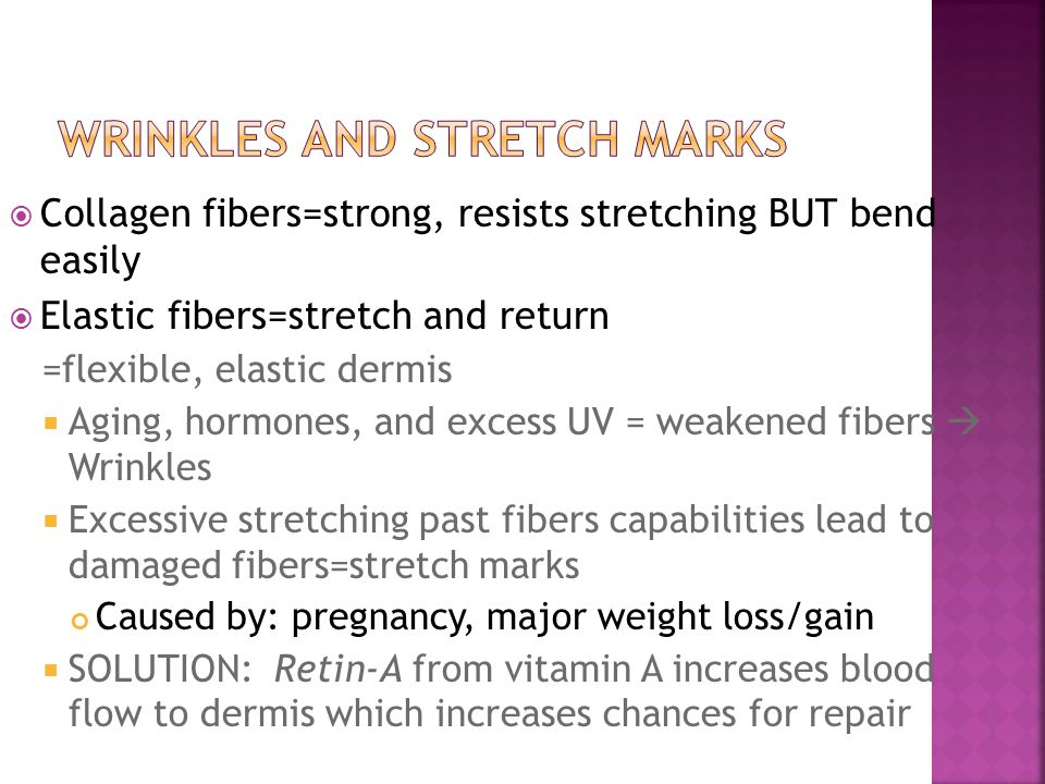  Collagen fibers=strong, resists stretching BUT bend easily  Elastic fibers=stretch and return =flexible, elastic dermis  Aging, hormones, and exce