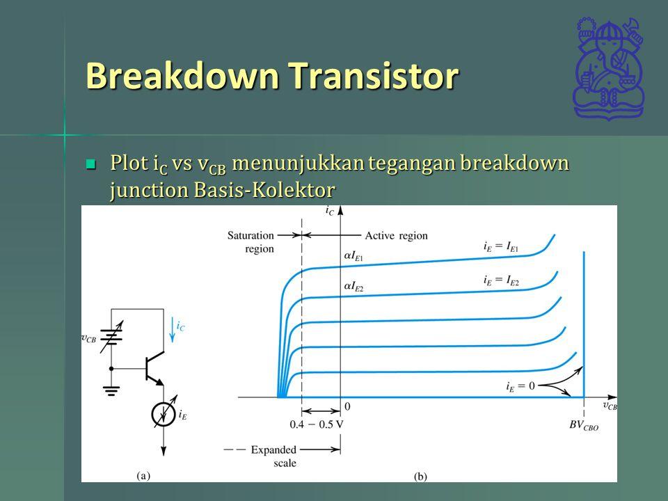 Breakdown Transistor Plot i C vs v CB menunjukkan tegangan breakdown junction Basis-Kolektor Plot i C vs v CB menunjukkan tegangan breakdown junction Basis-Kolektor