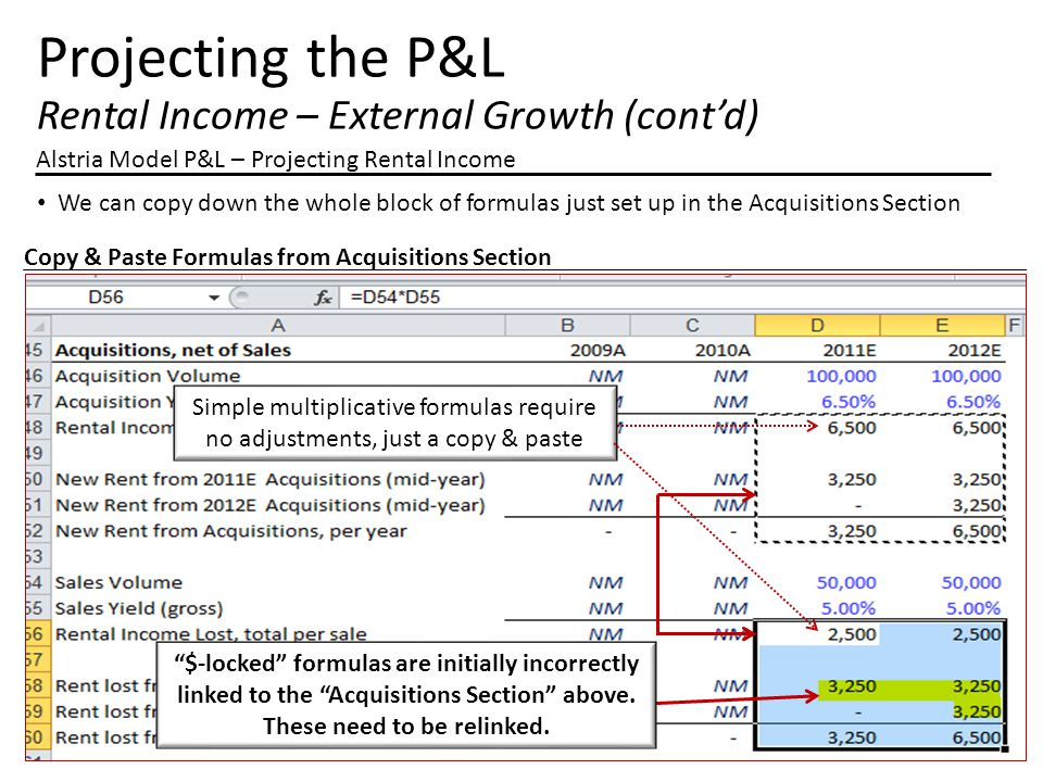 Projecting the P&L Rental Income – External Growth (cont'd) Alstria Model P&L – Projecting Rental Income We can copy down the whole block of formulas