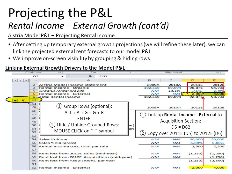 Projecting the P&L Rental Income – External Growth (cont'd) Alstria Model P&L – Projecting Rental Income After setting up temporary external growth pr