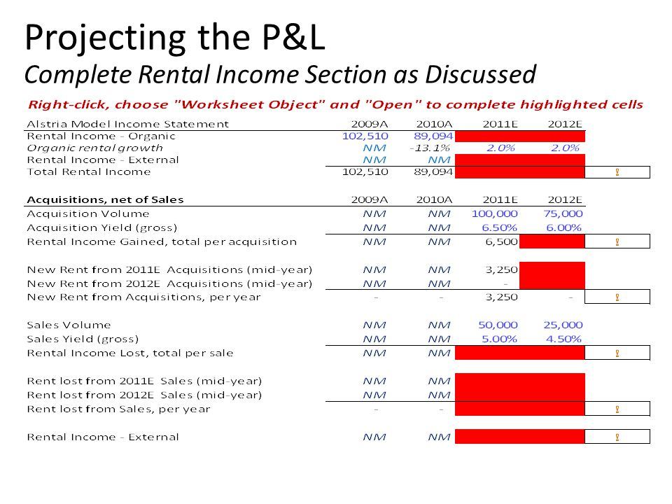 Projecting the P&L Complete Rental Income Section as Discussed