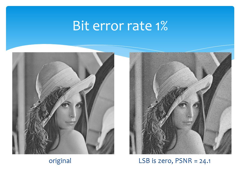 Bit error rate 1% original LSB is zero, PSNR = 24.1