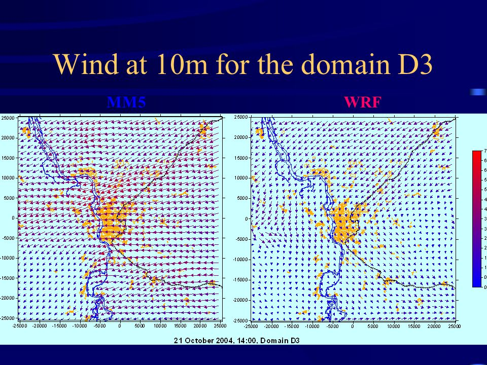 Wind at 10m for the domain D3 MM5 WRF